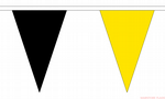 BLACK & YELLOW TRIANGULAR BUNTING - 20 METRES 54 FLAGS
